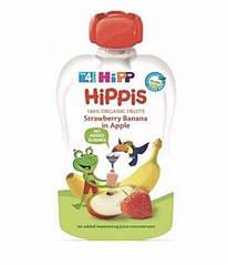 Пюре фруктовое органик яблоко,клубника,банан HiPP (Хипп) 100 гр с 4 месяцев