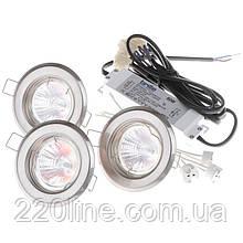 Светильник точечный комплект SET 3/HDL-S02 SN (82) 3x20W W/T