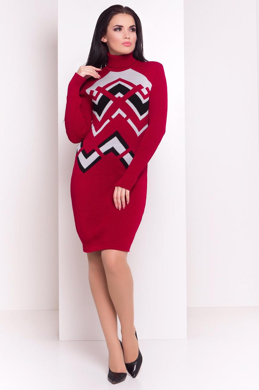 Теплое платье гольф с узорами 44-48 (в расцветках)