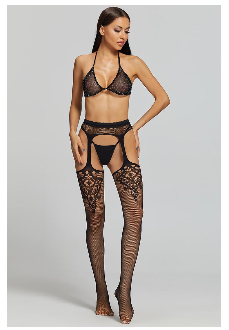 Панчохи чулки с узором с поясом сексуальное белье эротическое белье