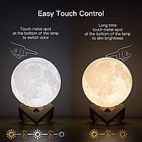 Ночник в виде Луны 3D Moon Light сенсорный 5 режимов диаметр 16 см., фото 1