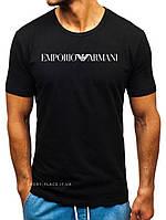 Мужская футболка Emporio Armani (Армани) черная(большая эмблема) хлопок