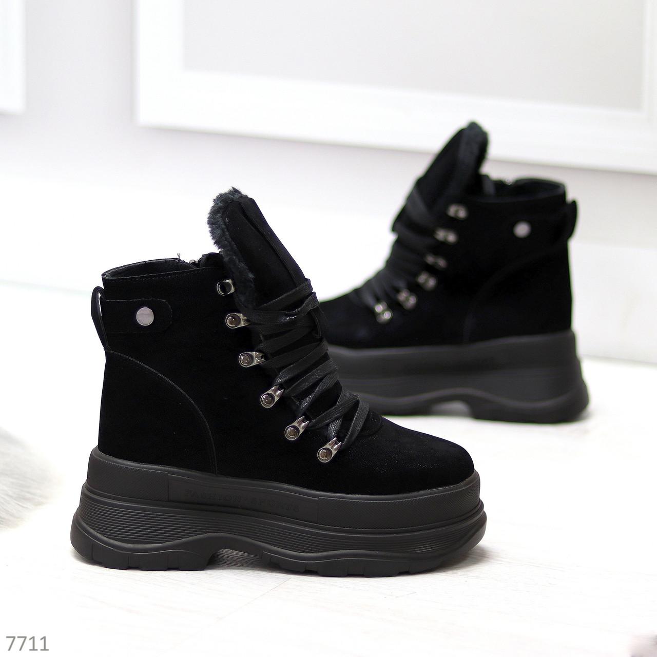 Молодежные черные зимние замшевые женские ботинки на платформе 38-23,5 / 39-24,5см