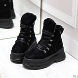 Молодежные черные зимние замшевые женские ботинки на платформе 38-23,5 / 39-24,5см, фото 2
