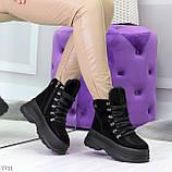 Молодежные черные зимние замшевые женские ботинки на платформе 38-23,5 / 39-24,5см, фото 4