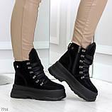 Молодежные черные зимние замшевые женские ботинки на платформе 38-23,5 / 39-24,5см, фото 5