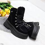 Молодежные черные зимние замшевые женские ботинки на платформе 38-23,5 / 39-24,5см, фото 6