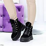 Молодежные черные зимние замшевые женские ботинки на платформе 38-23,5 / 39-24,5см, фото 7