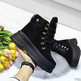 Молодежные черные зимние замшевые женские ботинки на платформе 38-23,5 / 39-24,5см, фото 8