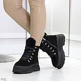 Молодежные черные зимние замшевые женские ботинки на платформе 38-23,5 / 39-24,5см, фото 9