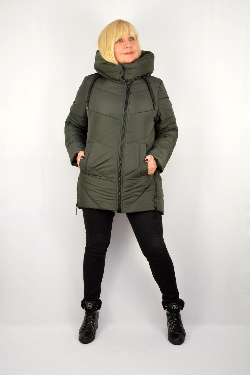 Куртка зимняя теплая с капюшоном хаки - Модель Х18