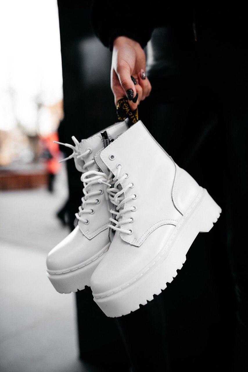 Ботинки женские зимние Dr. Martens Jadon full white (Мех), зимние ботинки Мартенс (Реплика ААА)