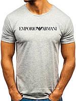Мужская футболка Emporio Armani (Армани) серая (большая эмблема) хлопок