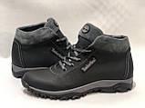 40,43 р. Мужские ботинки кожаные теплые кроссовки на меху Черные, фото 6