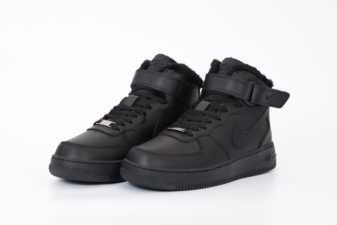 Кроссовки зимние мужские Nike Air Force Winter Black Мех