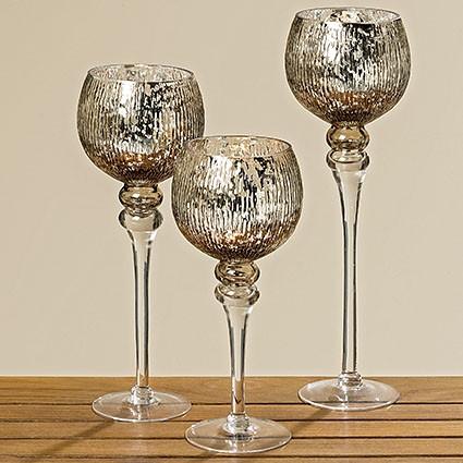 Набор подсвечников серебряное стекло 3х h30-40см