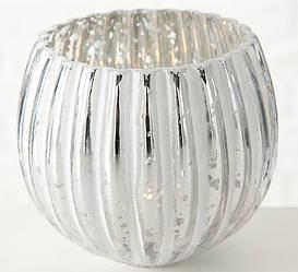 Подсвечник Ainara белое лакированное стекло h11см  1005607
