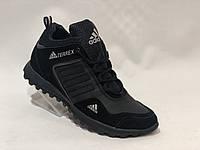 Зимние мужские ботинки из Натуральной кожи р. 40,41 Спортивные ботинки, кроссовки на меху Черные