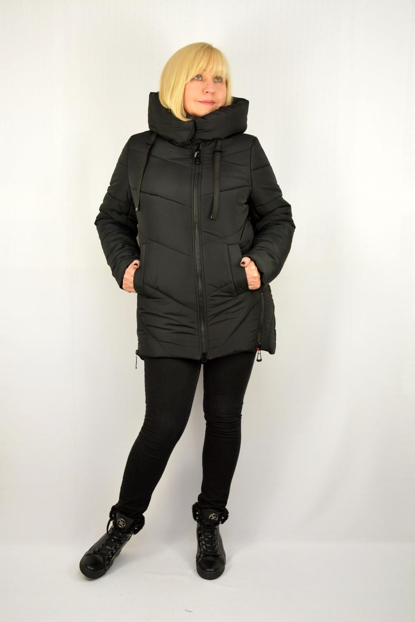 Куртка зимняя теплая с капюшоном черная - Модель Х22