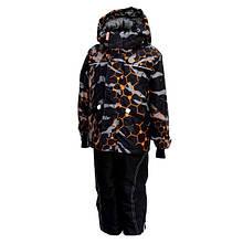 Комбинезон зимний на мальчика раздельный с мембранной ткани (черный с принтом) (размеры от 86 до 170) Код 1349