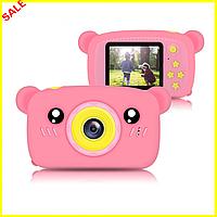 Детский цифровой фотоаппарат Smart Kids Camera Toy 9 20мп розовый в форме мишки, детская фотокамера игрушка