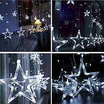 Новогодняя гирлянда штора на окно Звездный занавес 3 х 1 м (холодный белый), фото 3