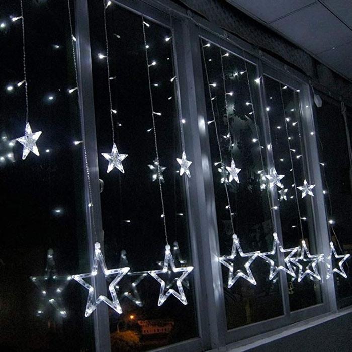 Новогодняя гирлянда штора на окно Звездный занавес 3 х 1 м (холодный белый)