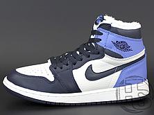 Женские кроссовки Air Jordan 1 Retro High Obsidian UNC White Blue (с мехом) 555088-140, фото 2