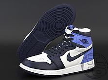 Женские кроссовки Air Jordan 1 Retro High Obsidian UNC White Blue (с мехом) 555088-140, фото 3