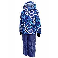 Комбинезон зимний на мальчика раздельный с мембранной ткани (синий с принтом) (размер от 86 до 170) Код 4664