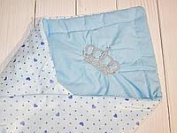 Конверт плед на выписку для новорожденных с вышивкой (голубой)