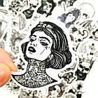 Набор стикеров Tattoo (black-white) (stk-026) (50 шт.), фото 3