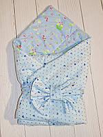 Конверт одеяло на выписку, плед конверт для новорожденных (голубой)