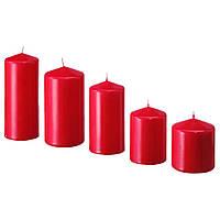Набор свечей IKEA FENOMEN декоративные восковые красные свечи столбики 5 шт ИКЕА ФЕНОМЕН
