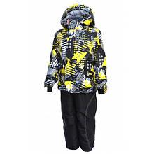 Комбинезон зимний на мальчика раздельный с мембранной ткани (черный с принтом) (размер от 86 до 170) Код 0643