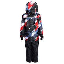 Комбинезон зимний на мальчика раздельный с мембранной ткани (черный с принтом) (размер от 86 до 170) Код 4105