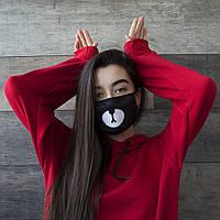 """Маска унисекс черная маска для лица с принтом """"Мишка"""" тканевая многоразовая женская"""