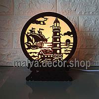 Соляная лампа, светильник, ночник Маяк и корабль