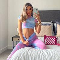 Спортивный костюм для фитнеса (леггинсы + топ) радуга, цветные