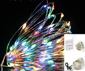Новогодняя LED гирлянда капли росы для декоративной подсветки 5 м с блоком питания. 3 режима свечения