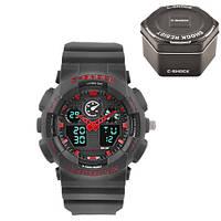 Часы мужские спортивные наручные  C-SHOCK GA-100 Black-Red, Box, подсветка 7 цветов