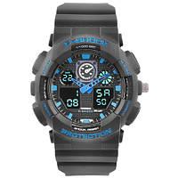 Часы мужские спортивные наручные  C-SHOCK GA-100 Black-Blue, подсветка 7 цветов