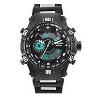 Часы мужские спортивные наручные QUAMER 1802,  браслет карбон, dual time, waterproof