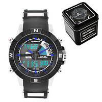 Часы мужские спортивные наручные QUAMER 1104, Box, ремешок каучук, dual time, waterproof