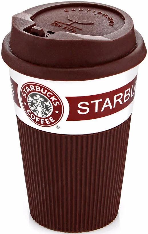 Чашка керамическая кружка StarBucks Brown коричневая стакан для кофе, чая, горячих напитков Star Bucks