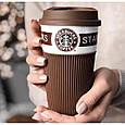 Чашка керамическая кружка StarBucks Brown коричневая стакан для кофе, чая, горячих напитков Star Bucks, фото 3