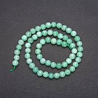 Намистини з натурального каменю Бирмский Жадеїт гладкий кулька d-8(+-)мм L-38см