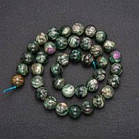Намистини з натурального каменю Зелений Лепидолит гладкий кулька d-10(+-)мм L-38см