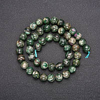 Намистини з натурального каменю Зелений Лепидолит гладкий кулька d-8(+-)мм L-38см