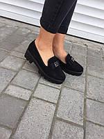 Туфли женские MENGTING 790-5 черные (весна-осень эко-замш)